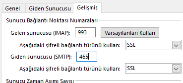 Outlook Gelismis Ayarlar